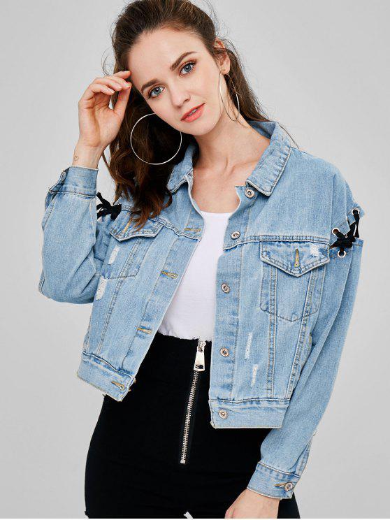 Ripped Lace Up Denim Jacket - Azul M