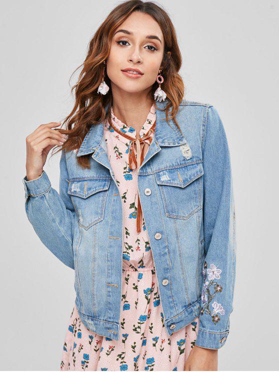shop Floral Embroidered Ripped Western Denim Jacket - BLUE S