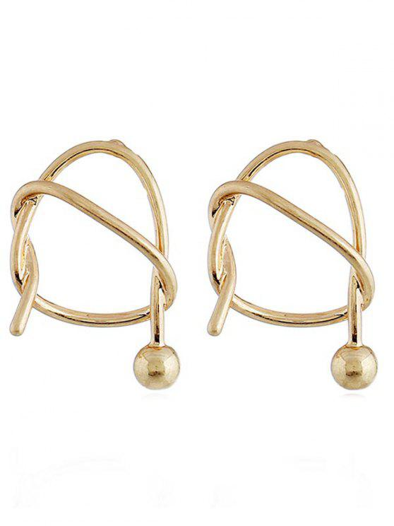 Unregelmäßige geometrische Form Knoten Ohrstecker - Gold