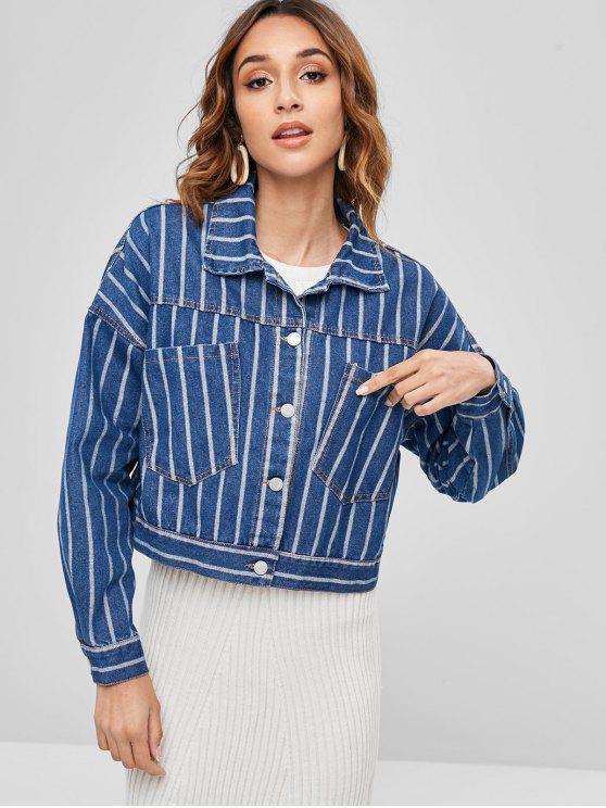 unique Oversized Striped Denim Jacket - BLUE L
