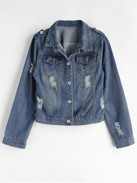 online Ripped Western Denim Jacket - BLUE XL