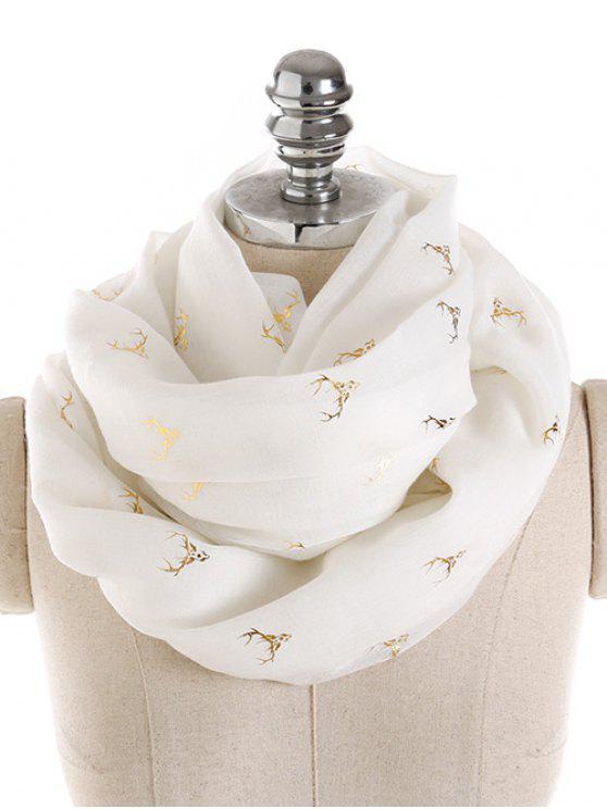 Écharpe Longue Élégante à Imprimé Élans Dorés - Blanc Taille Unique