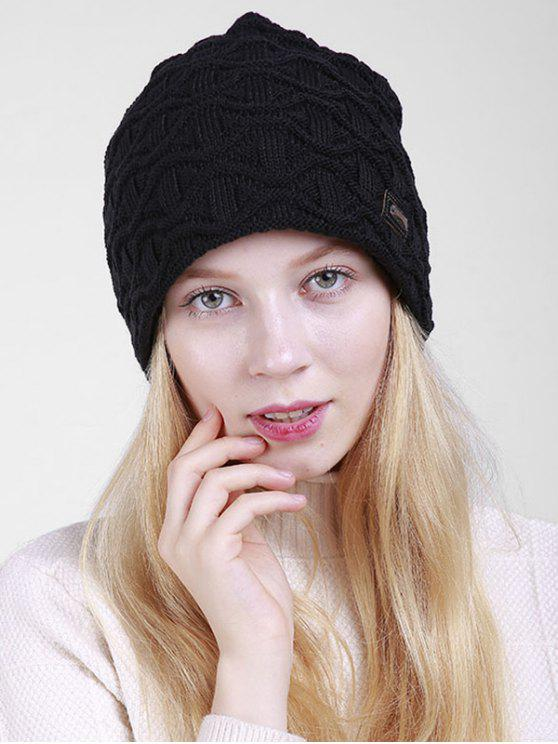 new Irregular Wave Pattern Knitted Slouch Beanie - BLACK