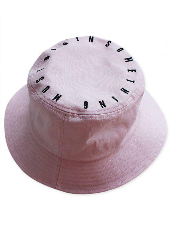 fashion Letter Embroidery Bucket Hat - LIGHT PINK