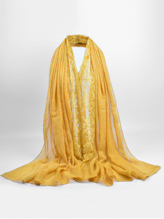 women's Elegant Floral Pattern Lace Scarf - SUN YELLOW