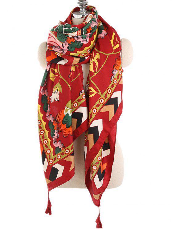 Estilo étnico geométrico chal floral bufanda - Rojo