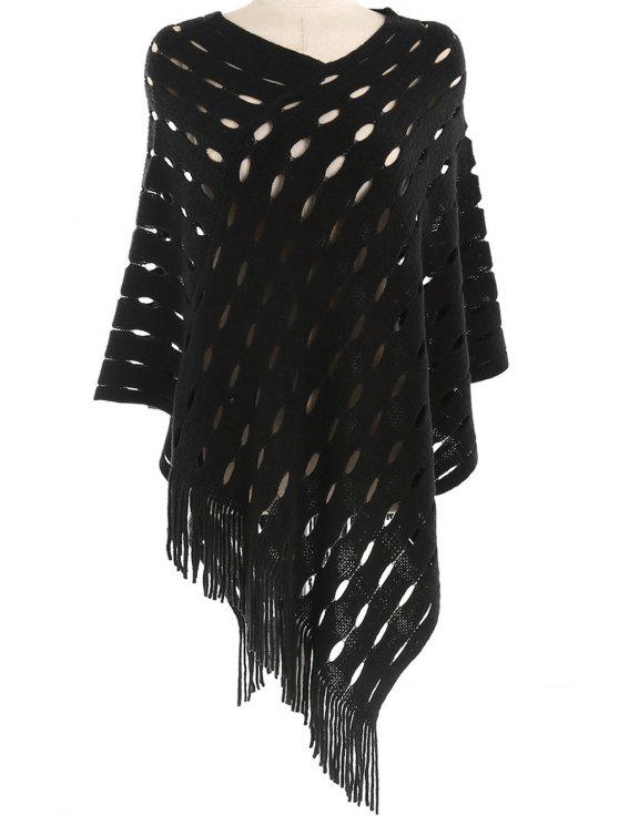 outfits Stylish Hollow Out Fringed Shawl Scarf - BLACK