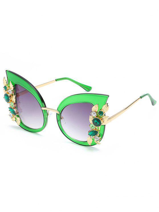 Farbige Strass Intarsien Catty Sonnenbrille - Außeriridisch Grün