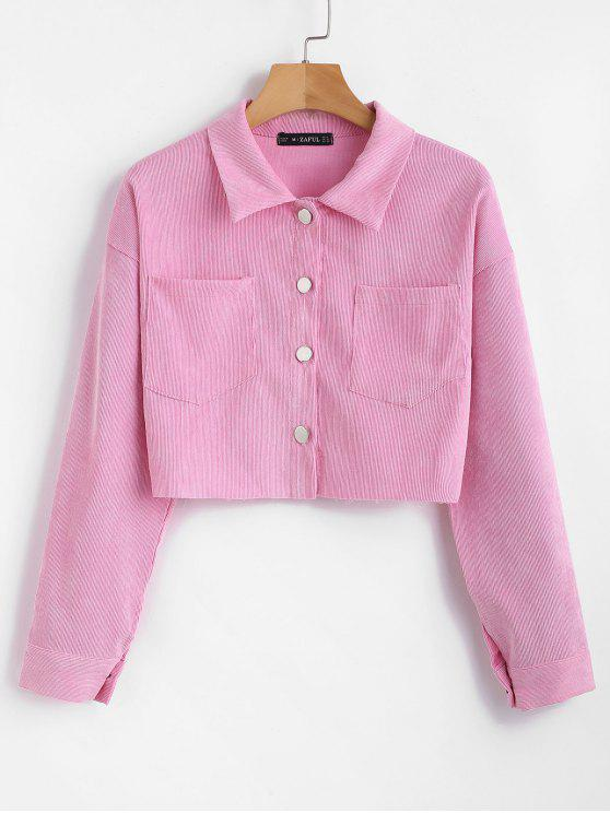 ZAFUL Corduroy Pocket Kurz geschnittenes Boxy Shirt - Rosa M