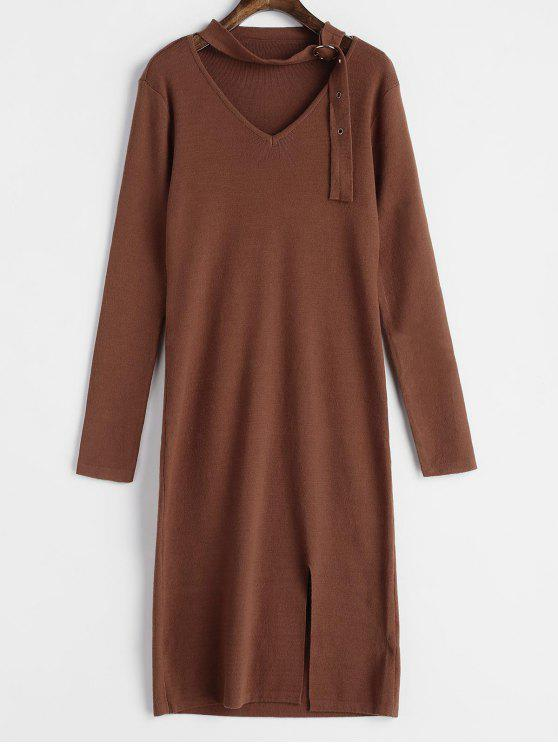 fancy Buckled Choker Sweater Dress - BROWN ONE SIZE
