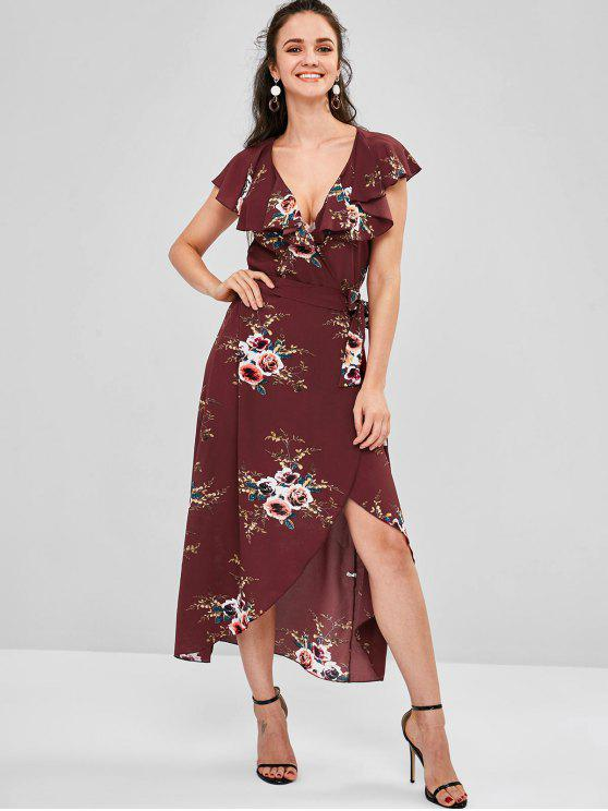 unique Wrap Foral Printed Maxi Dress - RED WINE L