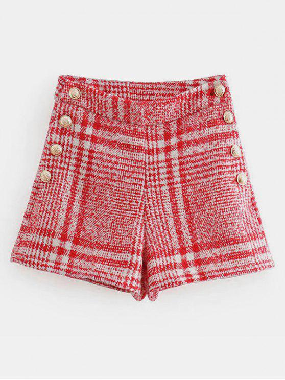 outfits Contrast Plaid Shorts - MULTI L