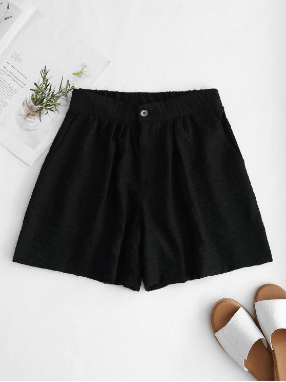 Hoch taillierte Wide Leg Shorts - Schwarz L