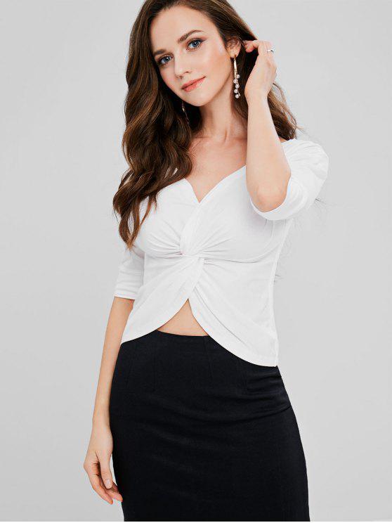 Twist Tiefer T-Shirt - Weiß Eine Größe