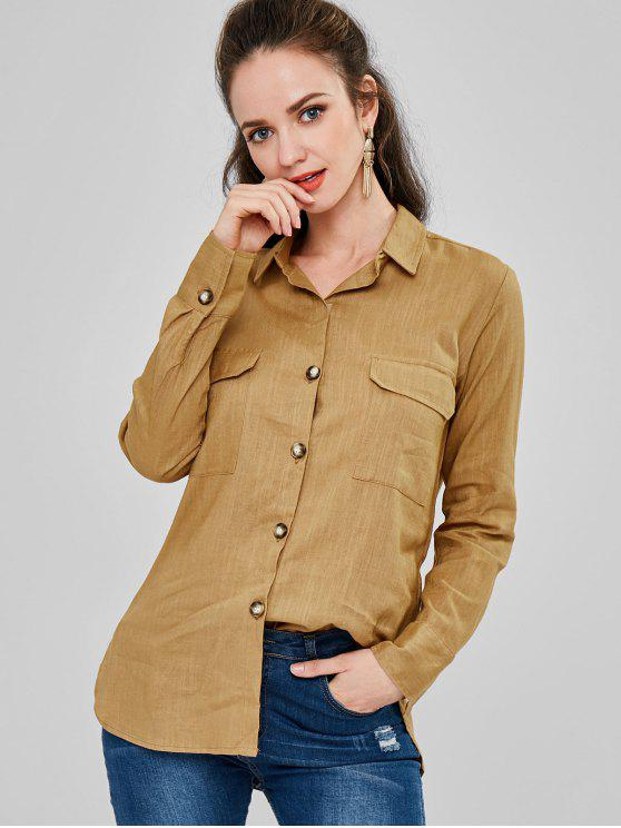latest Front Pockets Boyfriend Shirt - BEE YELLOW M