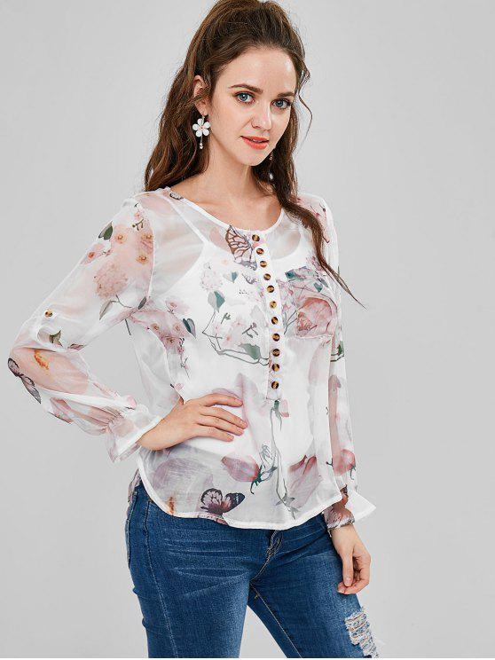 chic Buttoned Patch Pocket Floral Sheer Top - WHITE L