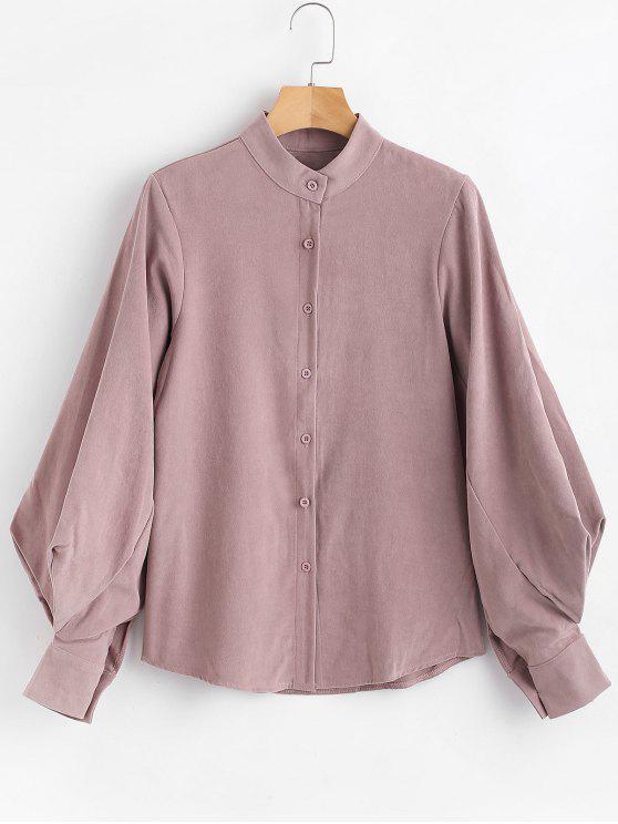 Button Up Laterne Ärmel Bluse - Rosiges Braun Eine Größe