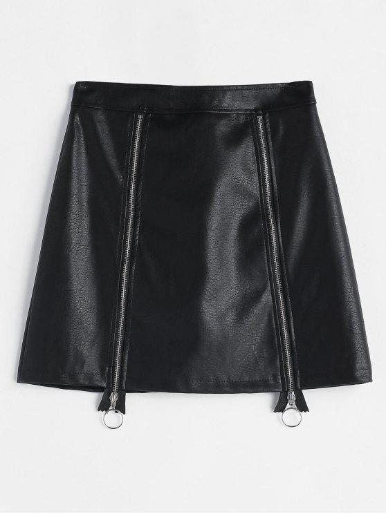 chic Faux Leather Zipper Skirt - BLACK M