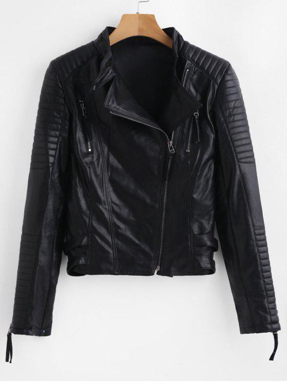 fancy Hardware Zipped Faux Leather Biker Jacket - BLACK M
