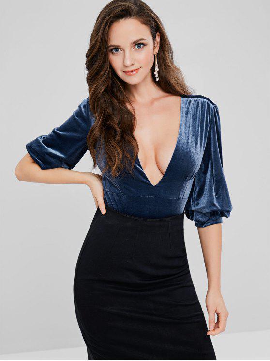 Puff Sleeve Plunge Velvet Bodysuit - Fenster Blau M