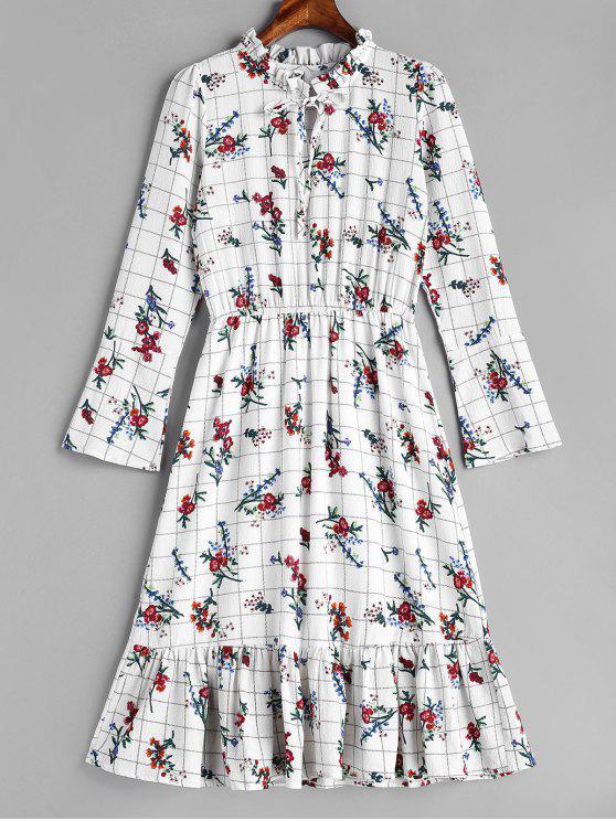 latest Grid Ruffles Floral Dress - WHITE M