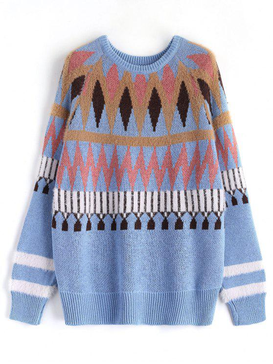 buy Chevron Pattern Sweater - LIGHT BLUE ONE SIZE
