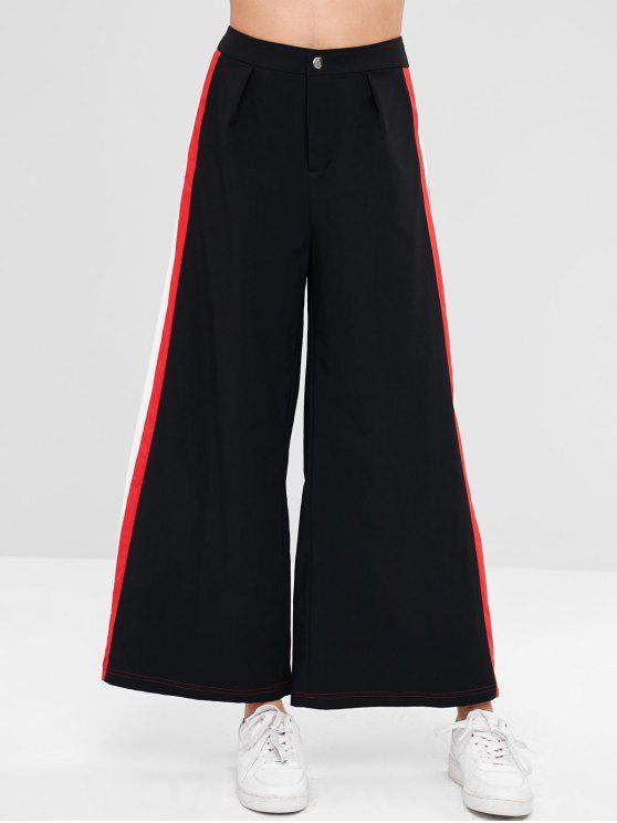 ZAFUL - Culotte-Hose mit weitem Bein und Kontrastseiten - Schwarz XL