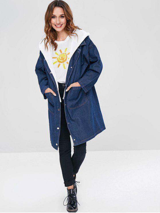 affordable Detachable Hooded Denim Coat - MIDNIGHT BLUE ONE SIZE