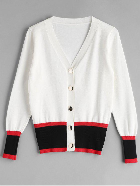 fancy Color Block Single Breasted Cardigan - WHITE ONE SIZE
