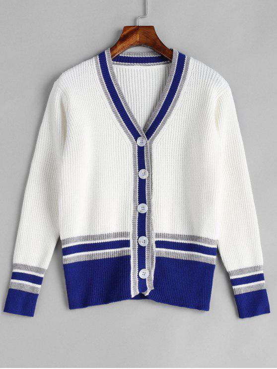 Button Up Cricket Strickjacke - Weiß Eine Größe