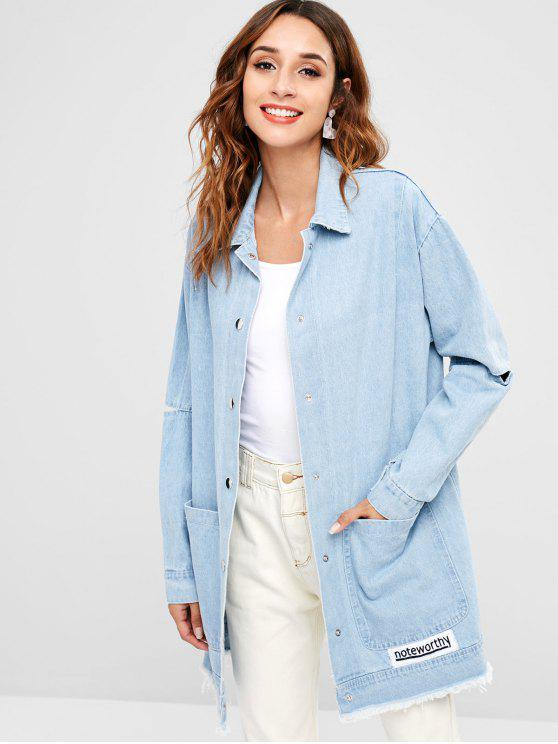 outfit Cut Out Sleeve Button Up Denim Jacket - LIGHT BLUE ONE SIZE