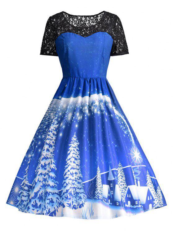 Vestido de fiesta de la vendimia del panel de encaje estampado - Azul 2XL