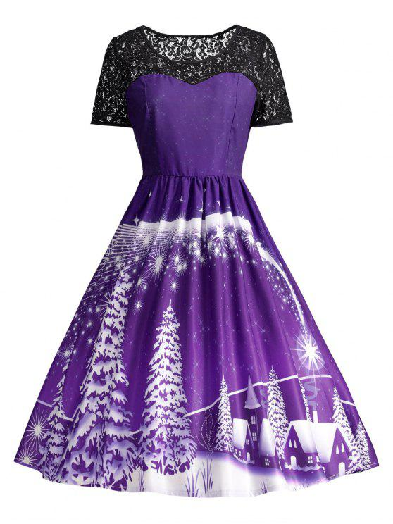 bcdbe296dddc 46% OFF] 2019 Print Lace Panel Vintage Party Dress In PURPLE | ZAFUL