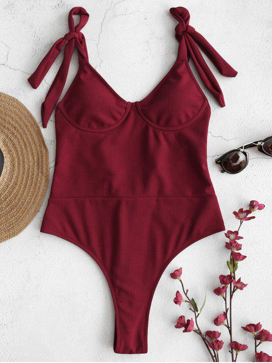 affordable Zaful Ribbed Underwire Tie Shoulder Swimsuit - RED WINE S