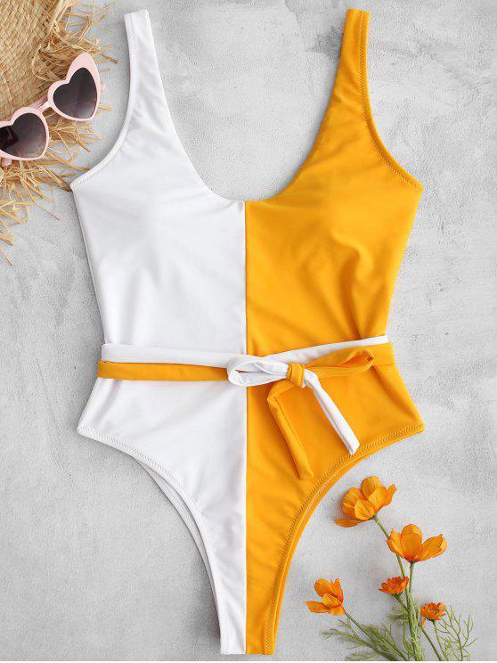 dbdf6bccfc 27% OFF  2019 ZAFUL Tie Waist Two Tone One Piece Swimsuit In MULTI-A ...