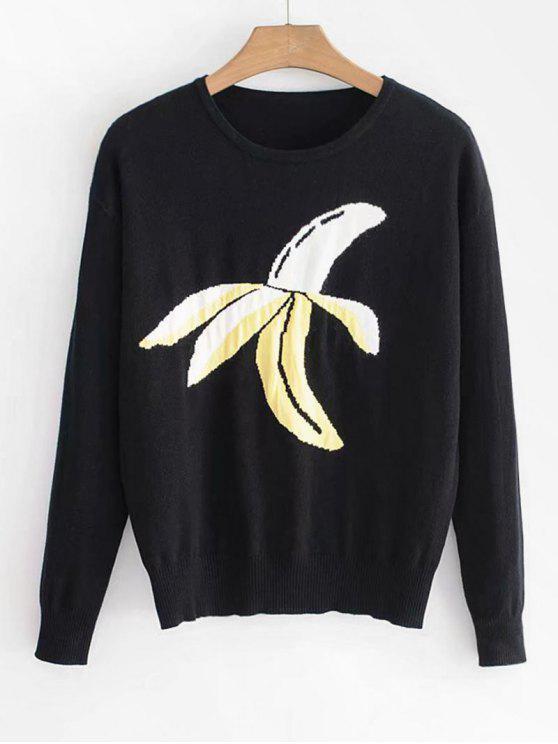 Pullover mit Bananen-Print - Schwarz S