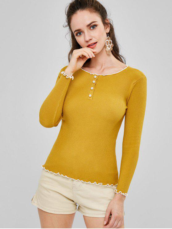 affordable Lettuce Trim Ribbed Sweater - YELLOW ONE SIZE