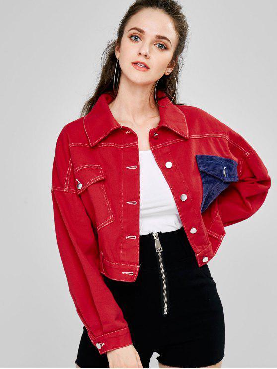 Button Up Casaco solto - Vermelho M