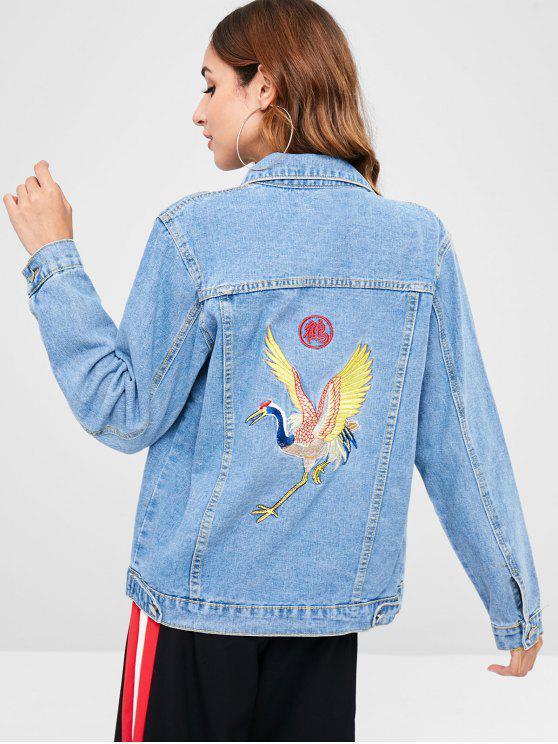 online Crane Embroidery Buttoned Denim Jacket - DENIM BLUE L