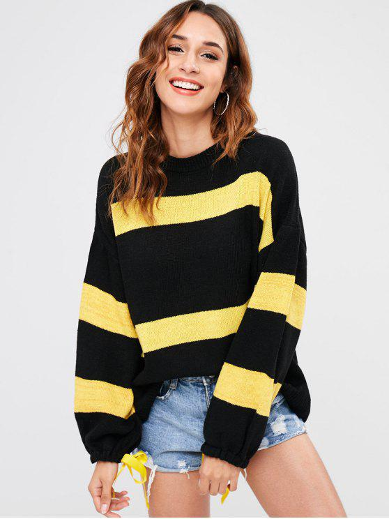 trendy Two Tone Loose Sweater - BLACK ONE SIZE