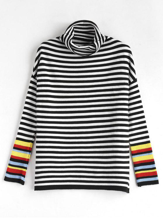 Jersey de rayas de cuello alto - Multicolor Talla única