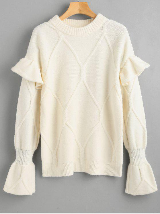 fashion Ruffles Cable Knit Sweater - WARM WHITE ONE SIZE