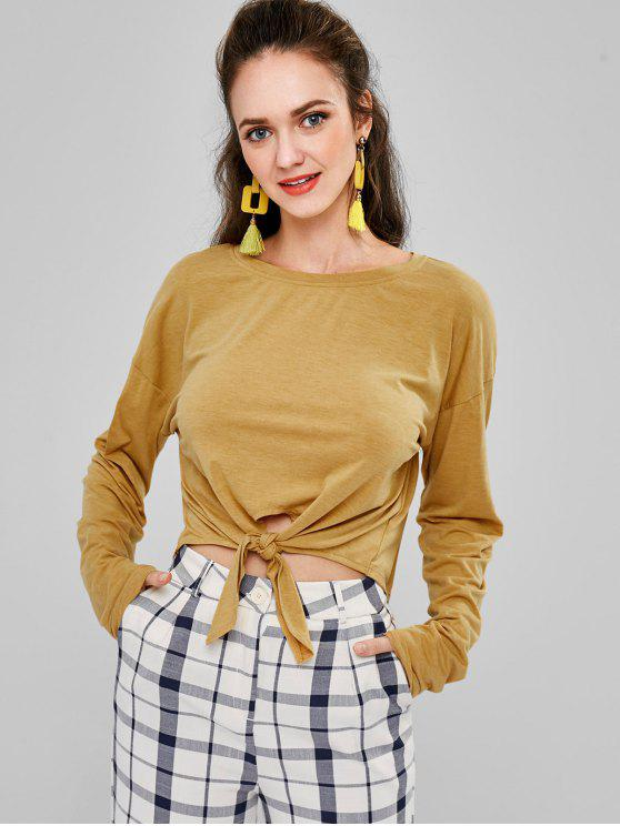 women ZAFUL Long Sleeve Cropped T-Shirt - ORANGE GOLD M