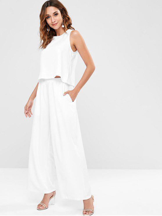 3bd155c2502 27% OFF  2019 Zaful Tank Top And Palazzo Pants Co Ord Set In WHITE ...