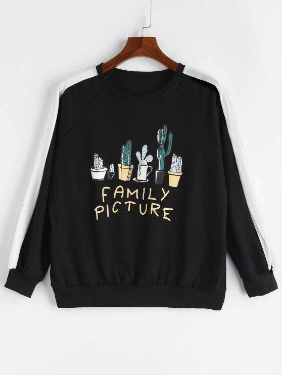 Familienbild-Kaktus-Sweatshirt - Schwarz Eine Größe