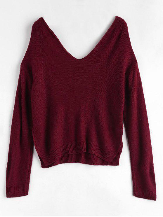 buy Side Slit Drop Shoulder Sweater - RED WINE ONE SIZE