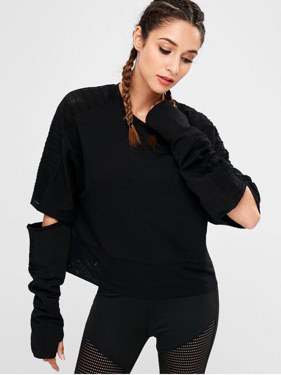Ausschnitt Mesh Insert Sweatshirt - Schwarz M