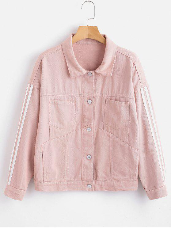 womens Striped Sleeve Button Front Denim Jacket - PINK M