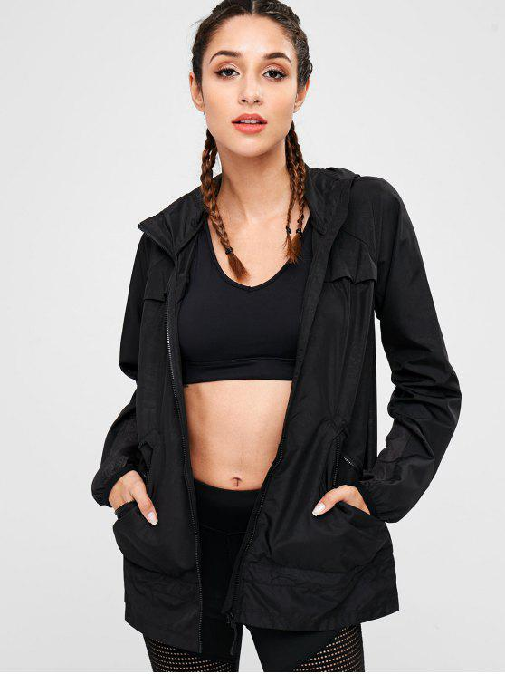 fashion Eyelet Panels Hooded Jacket - BLACK S