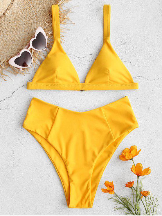 lady ZAFUL High Waisted Plunging Bikini Set - BRIGHT YELLOW L